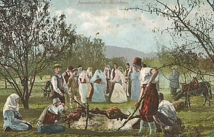 "Culture of Bosnia and Herzegovina - A lamb roast and ""kolo"" (circle) dancing - Bosnia and Herzegovina, 1895"