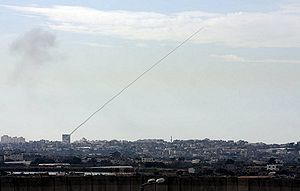 English: A Qassam rocket fired from a civilian...