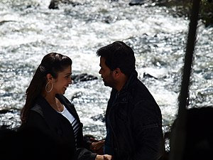 Aagathan - Aagathan song shooting at Shivanasamudra Falls