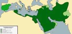 Califato abasí en su mayor extensión, alrededor de 849