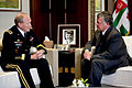 Abdullah II bin Al-Hussein, right, the king of the Hashemite Kingdom of Jordan, talks with Chairman of the Joint Chiefs U.S. Army Gen. Martin E. Dempsey in Amman, Jordan, Aug. 14, 2013 130814-D-VO565-009.jpg