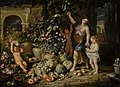 Abraham Brueghel and Nicola Vaccaro - A young woman picking figs with three children in a terraced garden.jpg