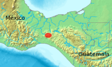 Map of southern Mexico and Guatemala showing a highlighted range (in red) covering a small area in the center of the Isthmus of Tehunatepec