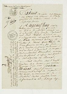 marriage certificate of joachim murat and caroline bonaparte archives nationales - Napoleon Bonaparte Lebenslauf