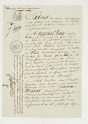 Joachim Murat - Marriage certificate of Joachim Murat and Caroline Bonaparte. Archives nationales