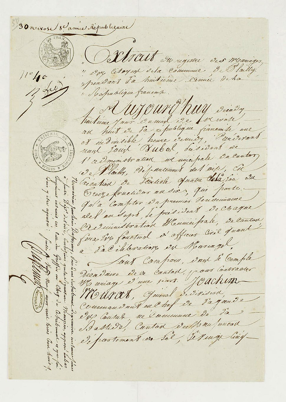 Acte de mariage de Joachim Murat et de Marie Annonciade Bonaparte-Archives-nationales-AE-I-11-12-12-2