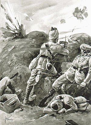 10th Baluch Regiment - Sepoy Khudadad Khan, VC, 129th DCO Baluchis, Hollebeke Sector, First Battle of Ypres, 31 October 1914.