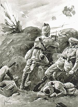 10th Baluch Regiment - Sepoy Khudadad Khan, VC, 129th DCO Baluchis, Hollebeke Sector, First Battle of Ypres, 31 October 1914.