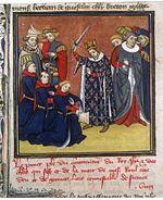 Le royaume de France est un régime féodal qui donne une grande place à la chevalerie. Sur cette enluminure, Jean II le Bon adoube des chevaliers.