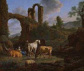 Pastoral Landscape with Ruins