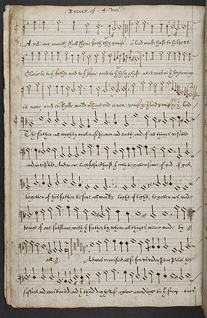 Adrian Batten - Autograph manuscript of Preces for 4 voices.