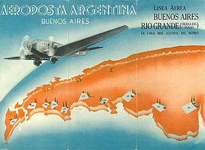 "Aeroposta Argentina - The cover art of an Aeroposta Argentina schedule brochure, featuring a Junkers Ju 52/3m, with the motto ""The southernmost line of the world""."
