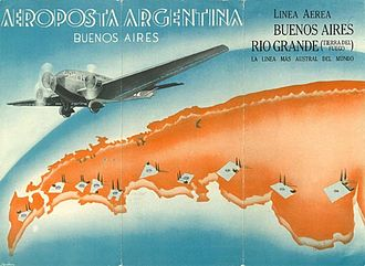 """Aeroposta Argentina - The cover art of an Aeroposta Argentina schedule brochure, featuring a Junkers Ju 52/3m, with the motto """"The southernmost line of the world""""."""