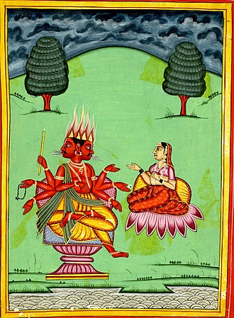 Seven rays - The seven-armed Agni with his wife.