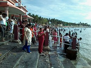 Rameswaram - People taking a holy dip in Agni theerth, Bay of Bengal