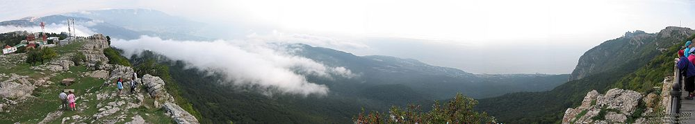 A panoramic view of Crimean Mountains from the top of the Ai-Petri Mountain.
