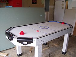 Air hockey table with puck and paddles.jpg