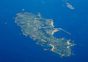 Burhou - Aerial shot of Alderney (centre) and Burhou (upper right), the Swinge lies between them