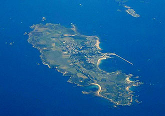 Alderney - Alderney (centre) and Burhou (upper right)