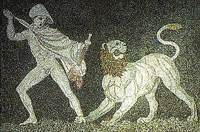 Détail d'une mosaïque qui montre Alexandre combattant un lion avec son ami Cratère.