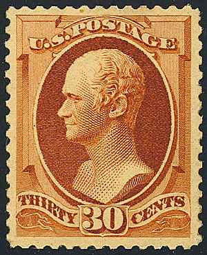 US Postage stamp: 1888 issue, Alexander Hamilt...