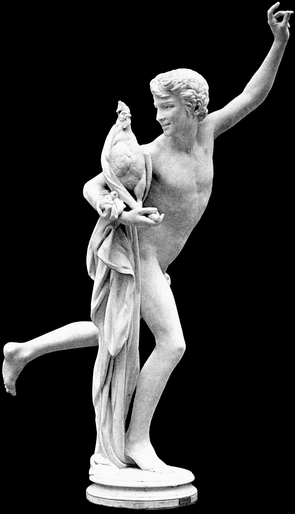 Alexandre falguiere's statue winner of the cockfight version with long drape vbig