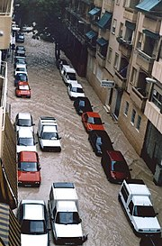 Autumn Mediterranean flooding in Alicante (Spain), 1997.