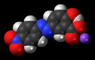Alizarine Yellow R - Image: Alizarine Yellow R sodium 3D spacefill