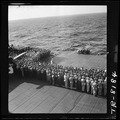 All hands attend burial rites for two crewmen aboard USS Lexington, CV-16. - NARA - 520924.tif
