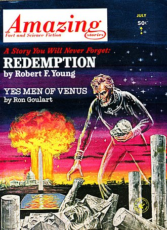 """Robert F. Young - Young's novella """"Redemption"""" took the cover of the July 1963 issue of Amazing Stories"""