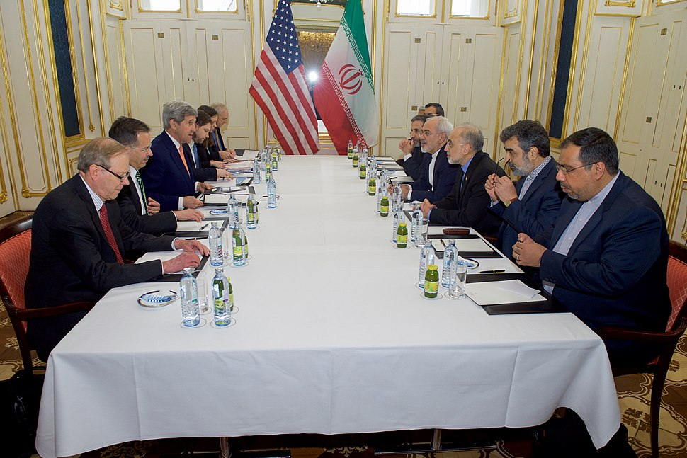 American diplomatic team and Iranian diplomatic team sit together - 16 January 2016
