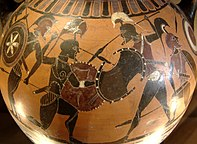 black-figure vase painting of a battle scene