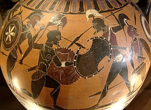 Black-figure pottery - Scene from a black-figure amphora from Athens, 6th century BC, now in the Louvre, Paris