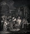 An infant dies, surrounded by mourners. Engraving. Wellcome V0034363.jpg