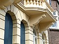 An ornamental facade with balcony of a large mansion in front of Artis Zoo; Amsterdam city 2013.jpg
