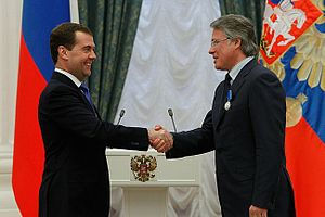 "Order of Honour (Russia) - Anatoly Alexandrov, Rector of the ""Bauman"" Moscow State Technical University being presented with the Order of Honour by President Dmitry Medvedev on May 3, 2012."