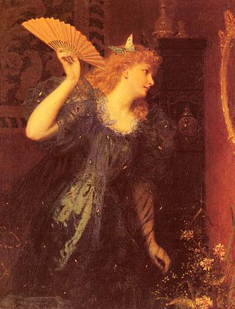 Hand fan - Ready For The Ball by Sophie Anderson.
