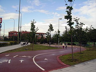 Cycling in Madrid - Anillo Verde Ciclista at the beginning of La Paz Avenue.