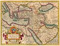 Antique map of the Ottoman Empire by J. Hondius, cartouche with portrait medallion of Sultan Mahumet.jpg