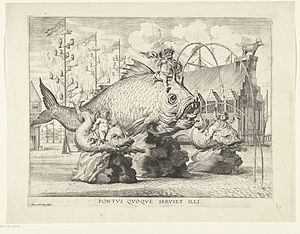 Antony van der Does - Spectacle with Ferdinand as Triton on a giant fish