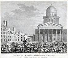 Vue du Panthéon avec une foule.