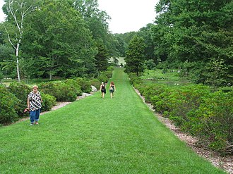 """Connecticut College Arboretum - The """"grass ramp"""" from the entrance to the lilly pond"""