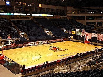 Webster Bank Arena - Fairfield Stags basketball setup