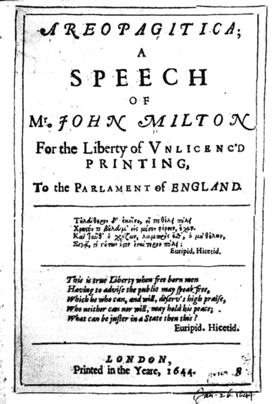 John Milton's Areopagitica (1644) argued for the importance of freedom of speech Areopagitica 1644bw gobeirne.png