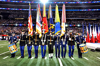 AT&T Stadium - Armed Forces Color Guard at Super Bowl XLV; then Cowboys Stadium