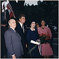 Arrival ceremonies for the President of Peru. President Don Manuel Prado, President Kennedy, Mrs. Prado, Mrs. Kennedy. - NARA - 194201.jpg