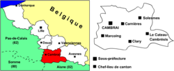 Location of Cambrai in Nord-Pas-de-Calais