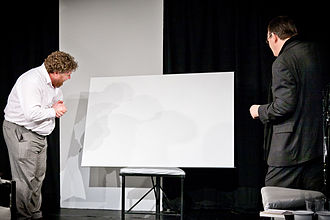 Art (play) - Serge and Marc inspect the white painting in a 2011 production by OVO theatre company, St Albans, UK.