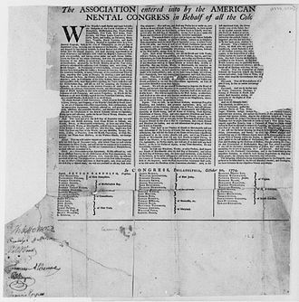 Continental Association - The Association adopted by the Continental Congress was published and often signed by local leaders. Thomas Jefferson, who was not yet a delegate to Congress, signed this copy (lower left) with other Virginians.