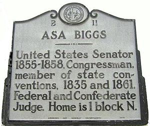 Williamston, North Carolina - Historical marker for Asa Biggs in Willimston